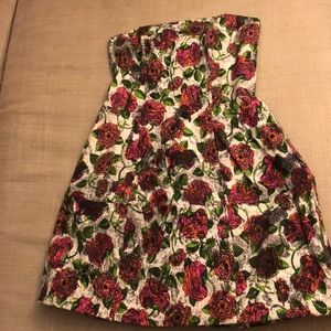 Perfect fall cocktail dress floral strapless
